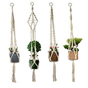 Set of 4 Macrame Plant Hangers | M&W