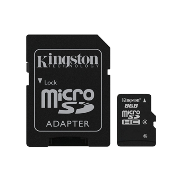 Kingston 8GB Micro SDHC Class 4 Flash Card with Adapter