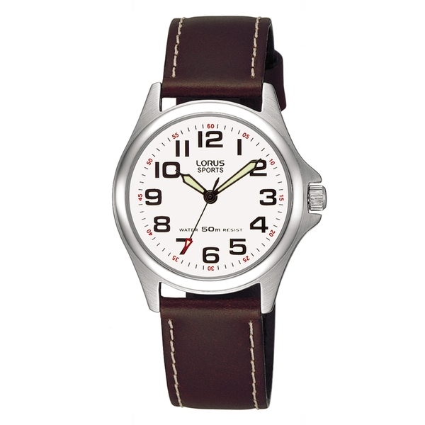 Lorus RRS51LX9 Ladies Sports Watch with Brown Leather Strap & Contrast Stitching