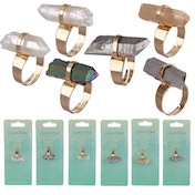 Gemstone & Mineral (Pack Of 6) Pointed Ring