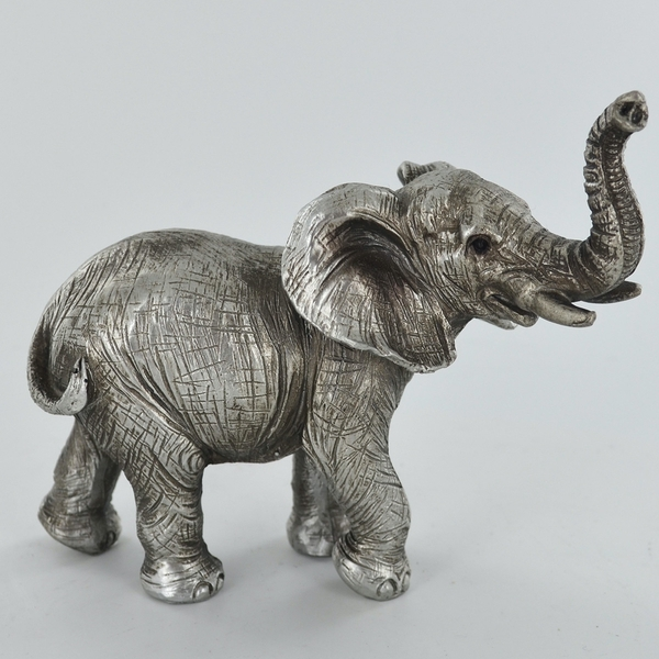 Antique Silver Standing Elephant Trunk Up Ornament