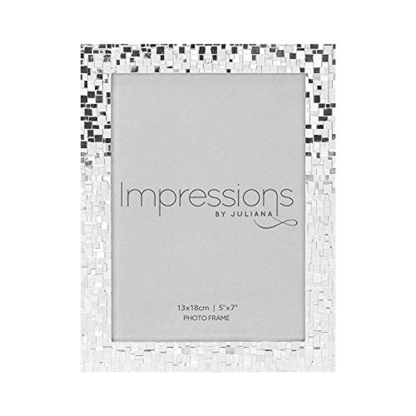 "5"" x 7"" IMPRESSIONS? Mosaic Effect Silver Plated Photo Frame"