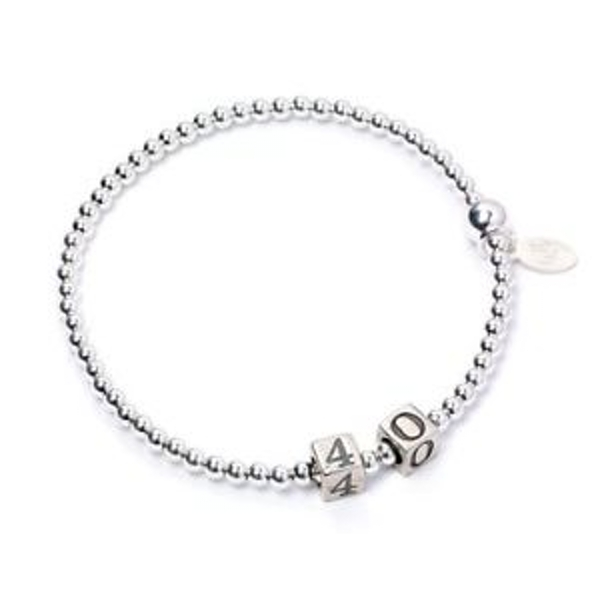 40 Number Cubes with Sterling Silver Ball Bead Bracelet