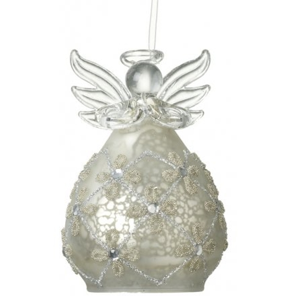 Frosted Glass Hanging Angel 8cm