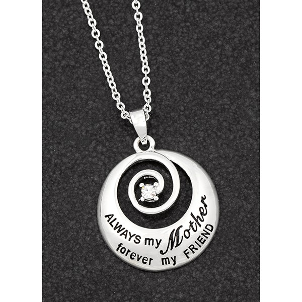 Sentiment Swirl Silver Plated Necklace Mother