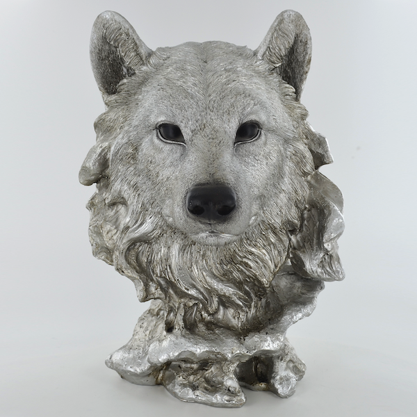 Antique Silver Wolf Head Ornament