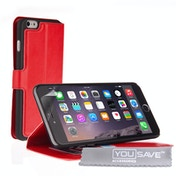 YouSave Accessories iPhone 6 Plus / 6s Plus PU Leather Stand Wallet Case - Red