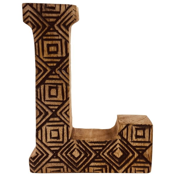 Letter L Hand Carved Wooden Geometric