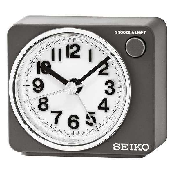 Seiko QHE122S Beep Alarm Clock with Snooze & Light - Silver