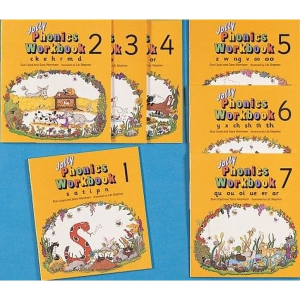 Jolly Phonics Workbooks 1-7: in Precursive Letters (American English edition) Paperback - 1 Mar. 1995