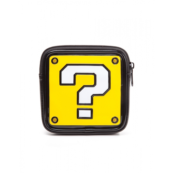 Nintendo Super Mario Bros. Women's Question Mark Shaped Zipped Coin Pouch Purse - Image 1