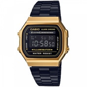 Casio A168WEGB-1BEF Classic Digital Watch with Black Strap & Gold Plated Case