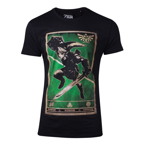 Nintendo - Propaganda Link Triforce Poster Men's Large T-Shirt - Black