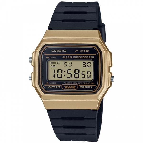 Casio F91WM-9AEF Casual Digital Watch with Black Rubber Strap & Gold Plated Case