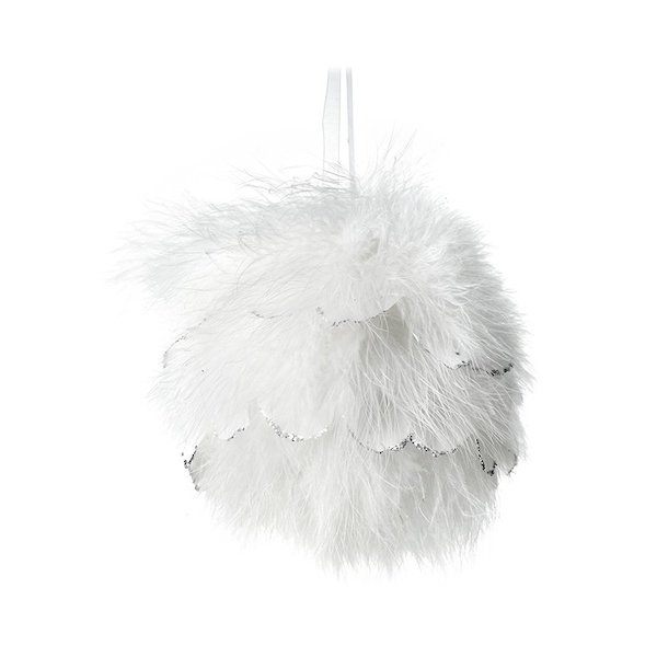 Large White Fluffy Feather Bauble