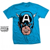Marvel Comics Captain America Big Head Mens Blue T Shirt Small