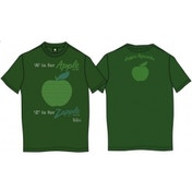 A is for Apple Mens Kelly Green Vintage Print T Shirt: Large