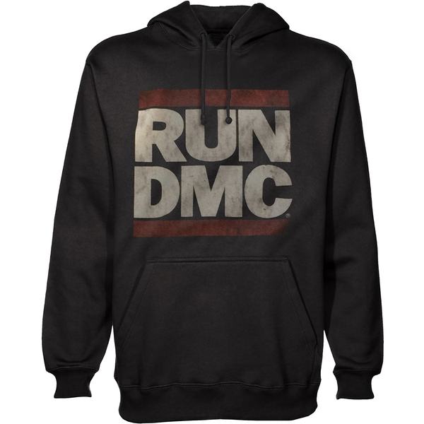 Run DMC - Logo Unisex Small Pullover Hoodie - Black