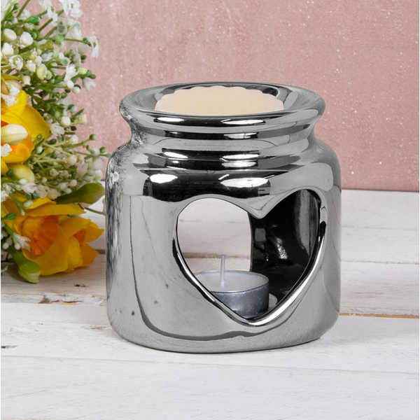 Ceramic Silver Heart Wax/oil Warmer by Lesser & Pavey