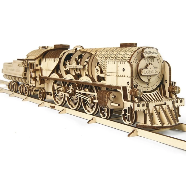 V-Express Steam Train with Tender UGears 3D Wooden Model Kit
