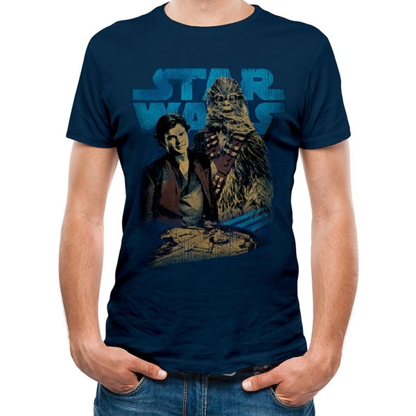 Han Solo Movie - Han And Chewie Men's Medium T-Shirt - Blue
