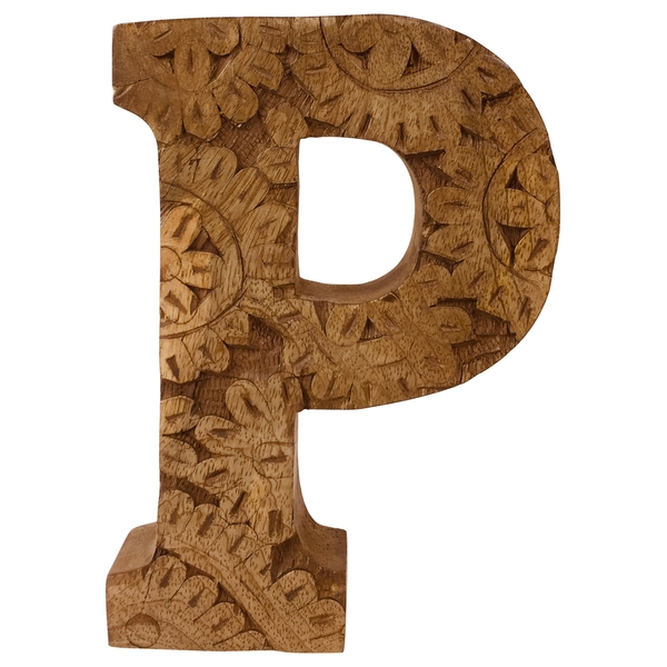 Letter P Hand Carved Wooden Flower