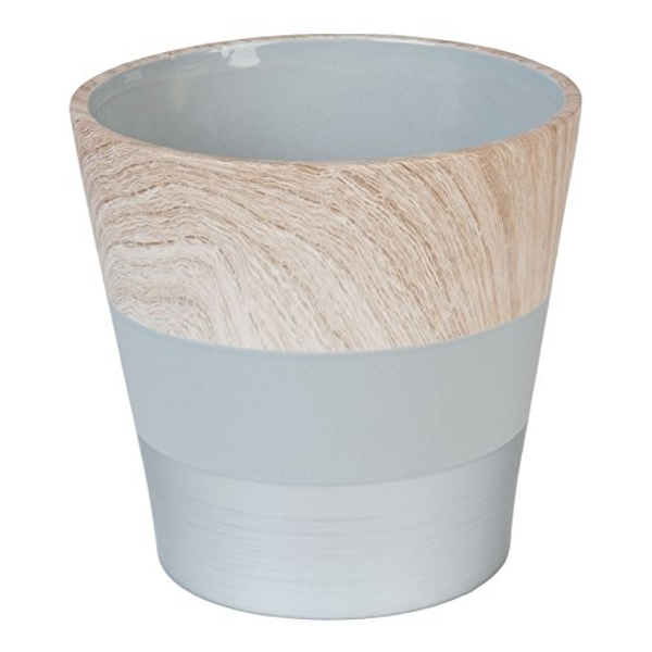 HESTIA? Concrete and Wood Effect Ceramic Planter 17cm