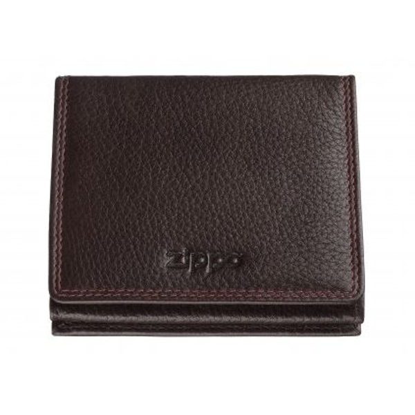 Zippo Brown Leather Double Sided Wallet (10.2 x 9.3 x 2.5cm)