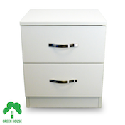 Wooden Chest of Drawers, Bedside Cabinet Bedroom Furniture Green House 2 Drawer Bedside White