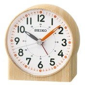 Seiko QHE168Y Orange Lumibrite Alarm Clock with Wood Pattern Case