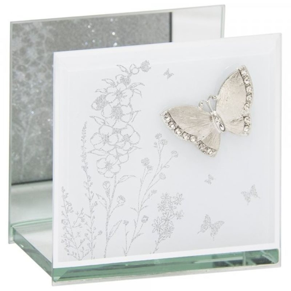 Mirror White Glass Butterfly Tea Light By Lesser & Pavey