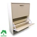 2 Drawer Shoe Cabinet White Footwear Stand Rack Unit Furniture Wooden Green House - Image 2