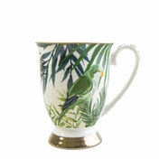 Tall Fancy Footed Mug in Emerald Eden Design with Leaves and Birds