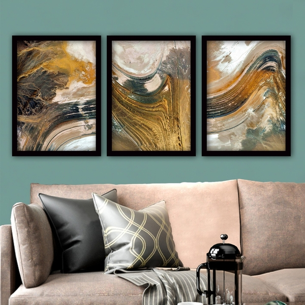 3SC56 Multicolor Decorative Framed Painting (3 Pieces)