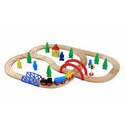 Wooden Railway Train Set 40 Pieces