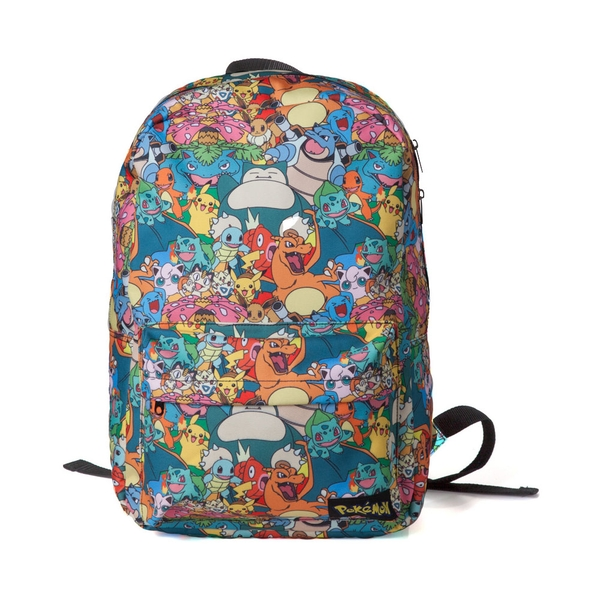 Pokemon - All-Over Characters Print Adjustable Shoulder Straps Backpack - Multi-Colour