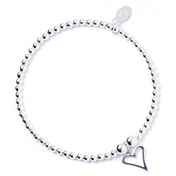 Open Heart Charm Sterling Silver Ball Bead Bracelet