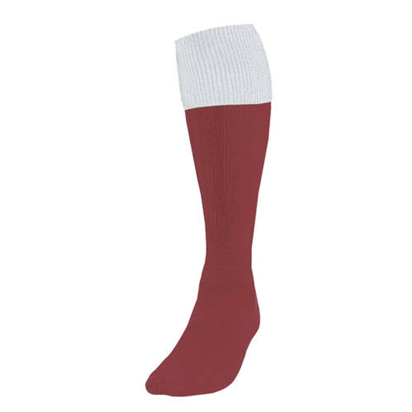 Precision Maroon/White Turnover Football Socks UK Size 3-6