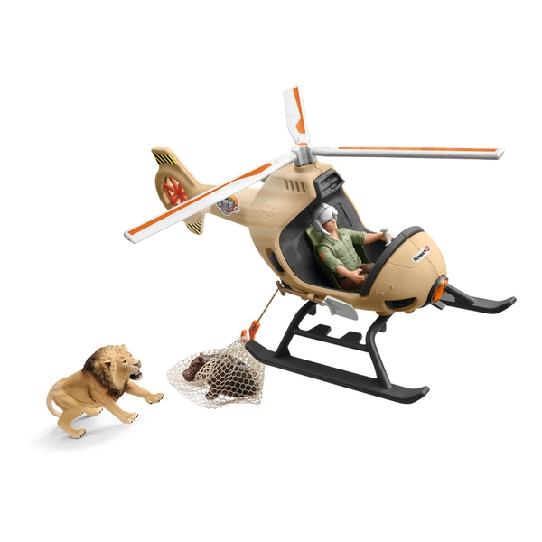 Schleich - Wild Life Animal Rescue Helicopter with Toy Figures & Accessories