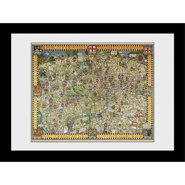 Transport For London Tapestry Map 60 x 80 Framed Collector Print