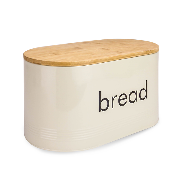 Kitchen Bread Bin with Bamboo Chopping Board Lid | M&W