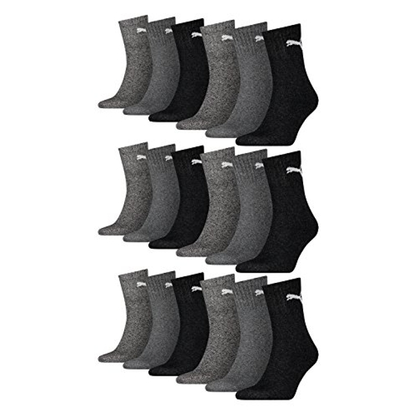 Puma Short Crew Socks Unisex Sports Socks with Terry Sole Pack of 18 anthracite / grey Size:47-49 (EU)