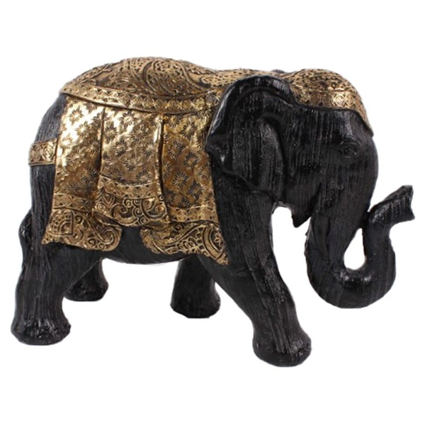 Brushed Black and Gold Small Thai Elephant Figurine