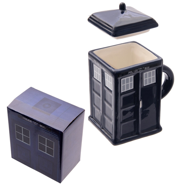 Police Box Square Mug with Lid