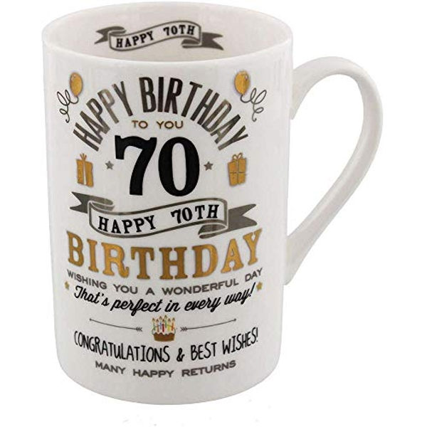 Signography Silver & Gold 70th Birthday Mug