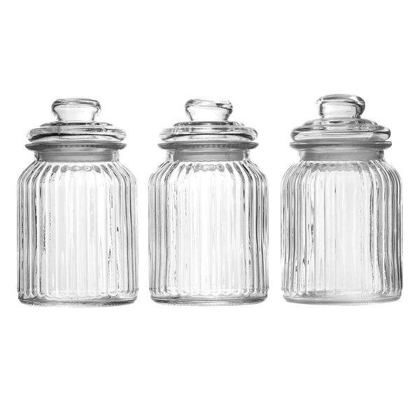 Set of 3 Vintage Airtight Glass Jars | M&W 990ml - Image 1