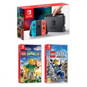 Nintendo Switch Console with Neon Red & Blue Joy-Con + Lego City Undercover + Lego Worlds
