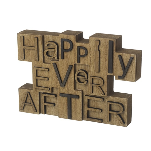 Happily Ever After Wooden Block Sign By Heaven Sends