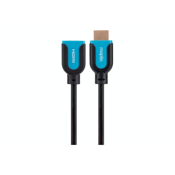 Maplin Premium HDMI Extension Cable - Black, 0.75m