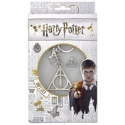 Harry Potter Deathly Hallows Keyring and Pin Badge Set
